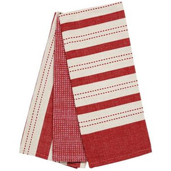 Ladelle Butcher Stripe Tea Towel Red 3 Pack