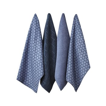 Ladelle Honeycomb Microfibre Kitchen Tea Towel 4 Pack 43 x 68cm Dusky Blue