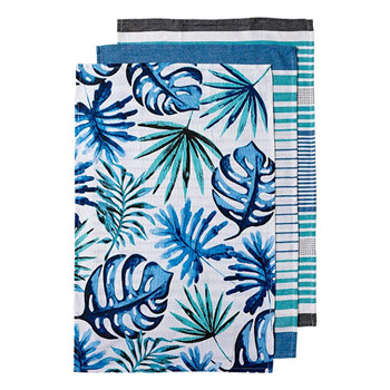 Ladelle Jade Palm 3 Pack Kitchen Tea Towel Set 45 x 70cm Blue, Green & White