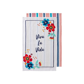 Ladelle Fiesta Viva La Vida 2pk Kitchen Towel