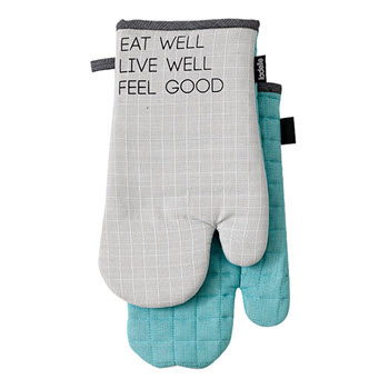 Ladelle Eat Well Cotton 2 Pack of Oven Mitts 18 x 33cm Blue & Grey