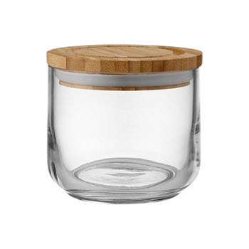 Ladelle Stak Glass & Bamboo Canister 9cm Clear