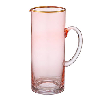 Ladelle Chloe Glass Jug 1.65L Peach Pink & Gold