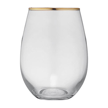 Ladelle Chloe Glass Tumbler 500ml Clear & Gold