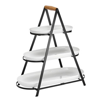 Ladelle Serve & Share Porcelain & Metal 3 Tier Serving Tower 50.6 x 24.5 x 54.5cm Black & White