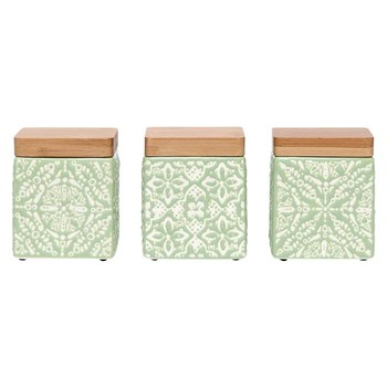 Ladelle Arise Mini Stoneware Canister Set of 3 Green