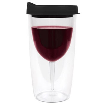Porta-Vino Black Portable Double Wall Wine Tumbler with Lid