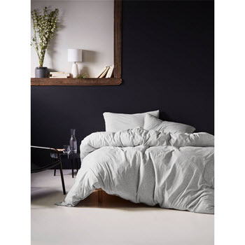 Linen House Hemsworth Double Quilt Cover Set Jersey Grey