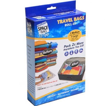 Original Space Bag Vacuum Storage Bags (1L & 1M) 2 Travel Bags