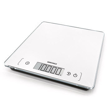Soehnle Page Comfort 400 Glass Digital Kitchen Scale 10kg 26.5 x 26.5 White