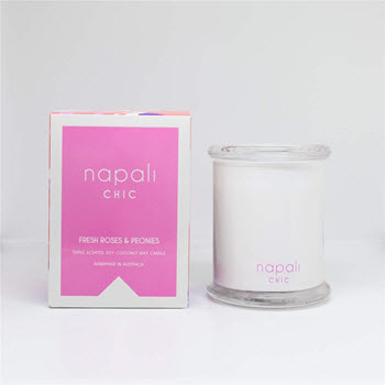 Napali Chic Fresh Roses & Peonies Large Bohemian Candle