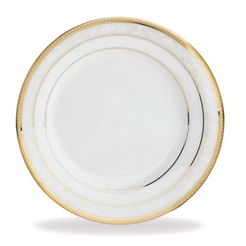Noritake Hampshire Gold Porcelain Dinner Plate 27cm White