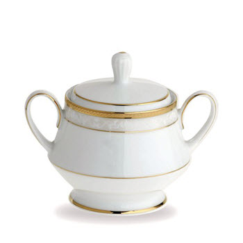Noritake Hampshire Gold Porcelain Sugar Bowl 300ml White