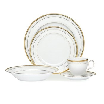 Noritake Hampshire Gold Porcelain 20 Piece Dinner Set