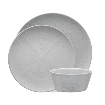 Noritake Grey on Grey Swirl 12 Piece Dinner Setting for 4