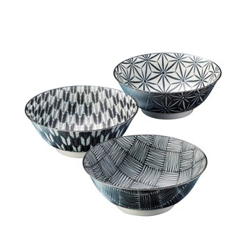 Japanese Porcelain Komon Noodle Bowl Set of 3