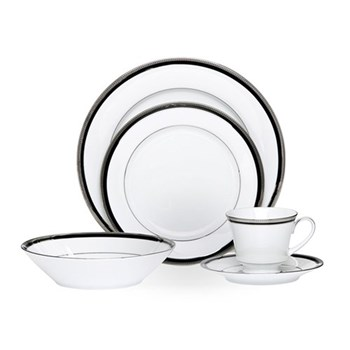 Noritake Toorak Noir Porcelain 20 Piece Dinner Set White
