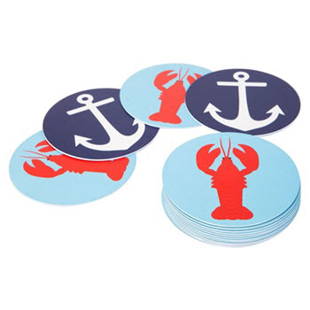 Sunnylife Set of 16 Lobster & Anchor Coasters