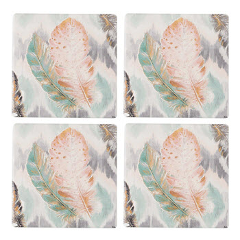 Thirstystone Set of 4 Ikat Feathers Coasters