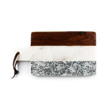 Thirstystone Industrial Luxe Sheesham, Marble & Granite Rectangular Paddle Serving Board