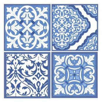 Thirstystone Box of 4 Blue & White Scrollwork Coasters Assorted