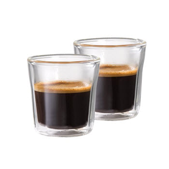 Baccarat Facet Set of 2 Double Wall Espresso Glass 3 oz / 88ml
