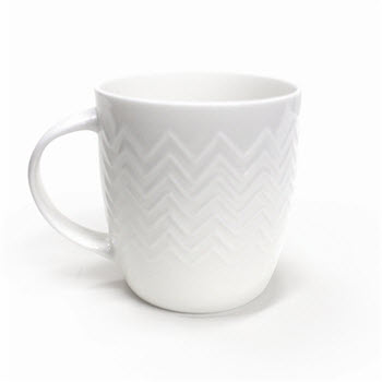 Alex Liddy Bianco Zig Zag Textured Mug