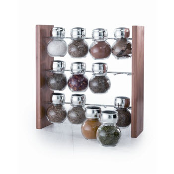 Baccarat Linear 13 Piece Bamboo Spice Rack with Seasoning