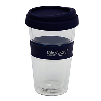 Take Away Double Wall Glass with Lid Navy