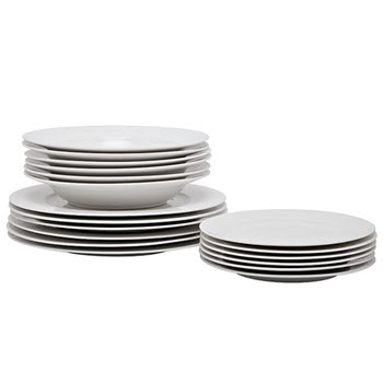 Alex Liddy Modern White Rim 18 Piece Dinner Set