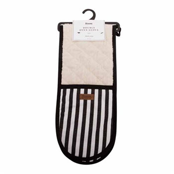 House Macy Double Oven Glove Black Stripe