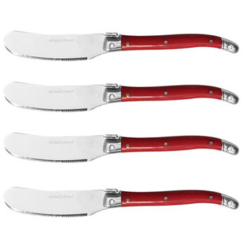 Marie Claire Laguiole Domain Set of 4 Pate Knife Red