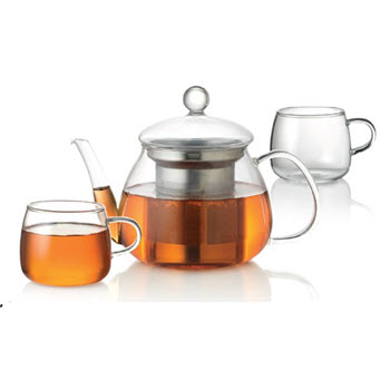 Baccarat Barista Glass 3 Piece Teapot and Cup Set