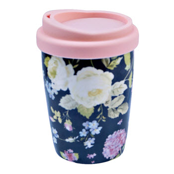 TakeAway Neo 250ml Double Wall Mug with Lid Floral