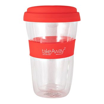 TakeAway Neo Double Wall Glass With Lid Red