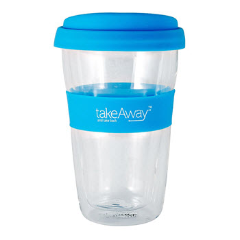 TakeAway Neo Double Wall Glass Mug with Lid Blue 300ml
