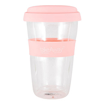 TakeAway Neo Double Wall Glass Mug with Lid Pink 300ml