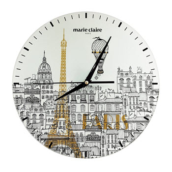 Marie Claire 30cm I love Paris Glass Clock