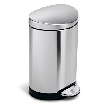 Simplehuman Semi-Round Step Trash Can 6L Stainless Steel