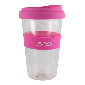 TakeAway Tali Double Wall Glass with Lid Pink