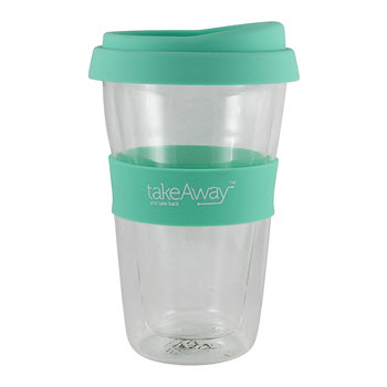 TakeAway Tali Double Wall Glass with Lid Jade