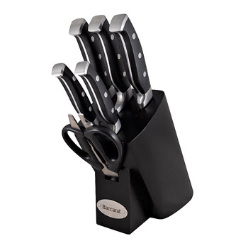 Baccarat Artisan Finster 7-Piece German Steel Knife Block Black