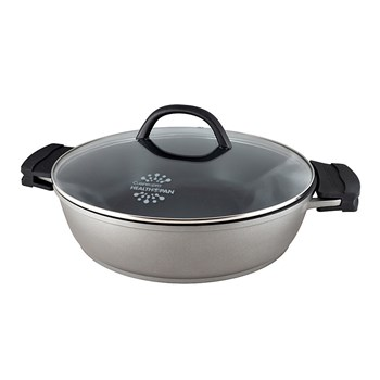 Cuisinepro Health Pan Non-Stick Saute Pan 32cm with Glass Lid and 2 x BONUS Silicone Pot Holders