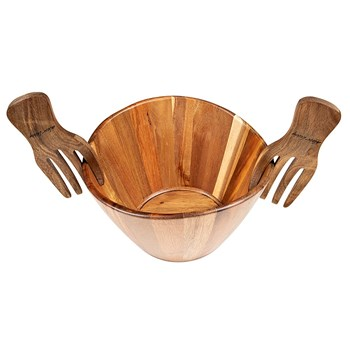 Alex Liddy Acacia Salad Bowl with Claw Servers 30cm
