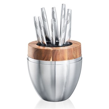THE EGG by Baccarat iD3 9 Piece Stainless Steel Knife Block