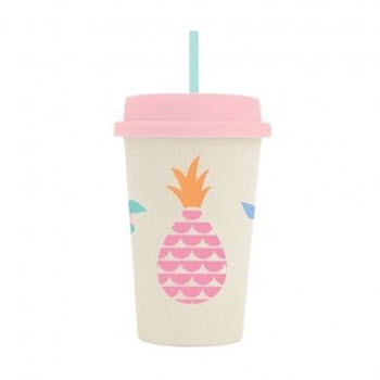 Penny Scallan Bamboo Tumbler with Lid Pineapple Bunting