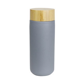 Robert Gordon Journey Stoneware Water Bottle with Bamboo Lid 320ml Matte Grey