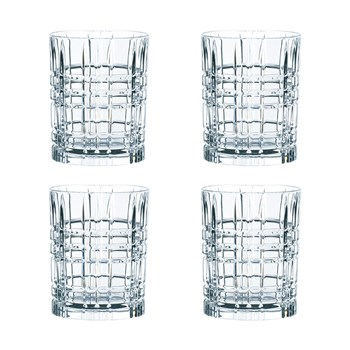 Nachtmann 4-Piece Crystal Square Whisky Tumbler Set 345ml
