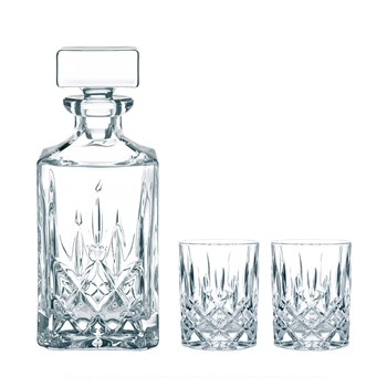 Nachtmann Noblesse 3-Piece Crystal Whisky Carafe & Tumbler Set 750ml/295ml