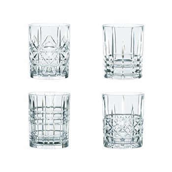 Nachtmann Highland 4-Piece Mixed Crystal Glass Tumbler Set 345ml